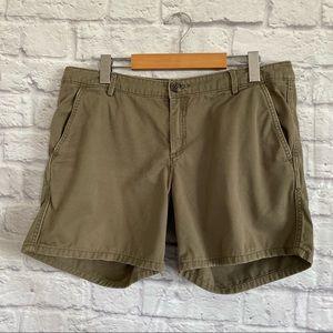 AERIE Khaki Lightly Distressed Shorts